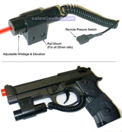 Basic Airsoft Adjustable Laser System w/ Remote and mount