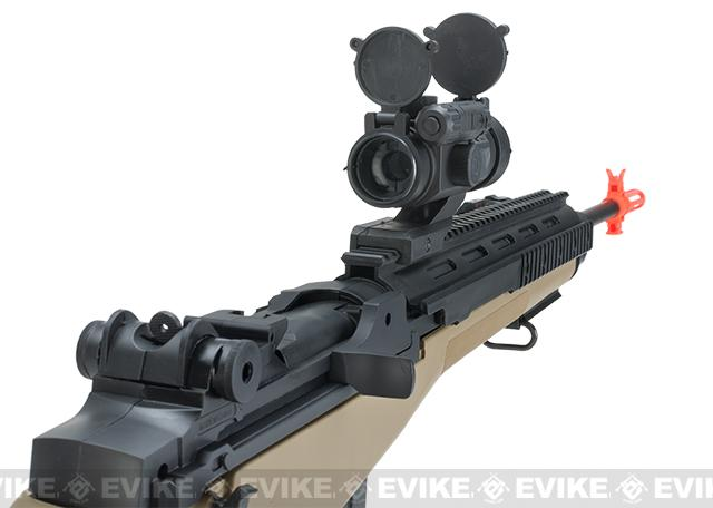 AGM M14 Full Size Airsoft Spring Powered Sniper Rifle + Red Dot & Flashlight (Color: Dark Earth)