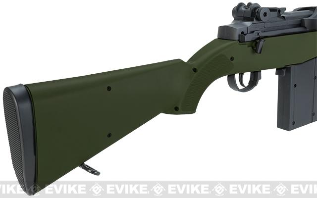 AGM M14 Full Size Airsoft Spring Powered Sniper Rifle + Red Dot & Flashlight (Color: OD Green)
