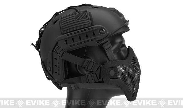 6mmProShop Iron Face Mesh Striker V1 Lower Half Mask for Use with Bump Helmets - Black with Skull