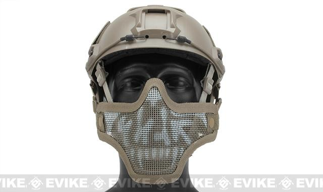 6mmProShop Iron Face Mesh Striker V1 Lower Half Mask for Use with Bump Helmets - Tan with Skull