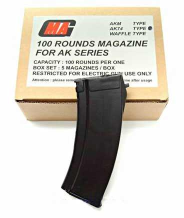 MAG 100 Round Mid-cap Magazine For AK Series Airsoft AEG - Plum Type (Box Set of five)