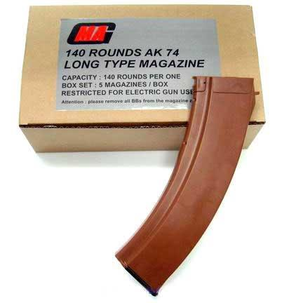 MAG EX-Long 140rd Mid-Cap Long Magazine for AK Series Airsoft AEG ( Box of 5 )