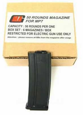 MAG MP7 50rd Mid-CAP Simulation Magazine For MP7 Series Airsoft AEG (Box Set of 6)