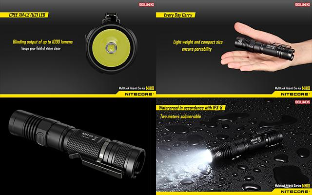 NiteCore MH10 Multi-Task Hybrid Rechargeable CREE LED Tactical Flashlight