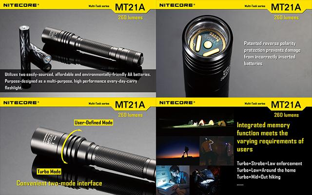 Nitecore Multi-Task Series CREE XP-E2 LED 260 Lumen Tactical Flashlight