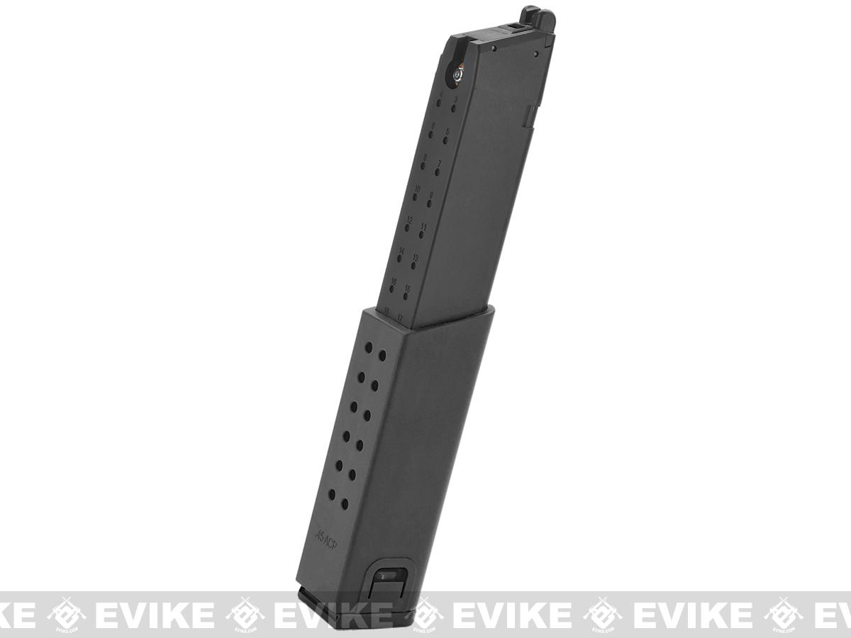 KWA Full Metal 49rd Magazine with Polymer Spacer for KWA SMG45 Airsoft GBB SMG - Black