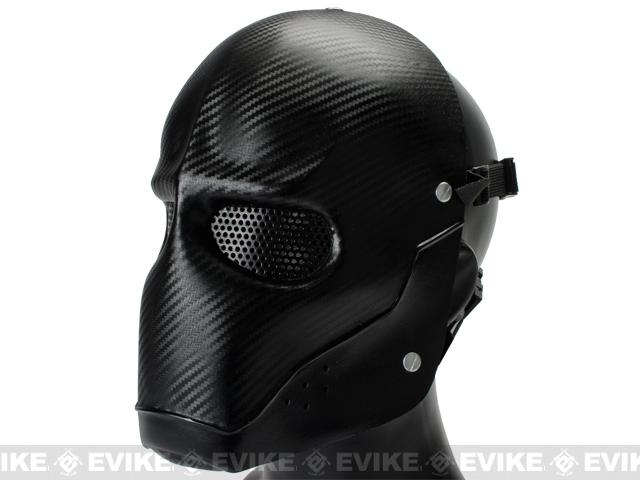 Evike.com R-Custom Fiberglass Wire Mesh Airsoft Army Mask - Carbon Fiber Black