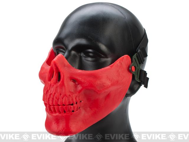Avengers Skull Iron Face Lower Half Mask - Dark Red Skeleton