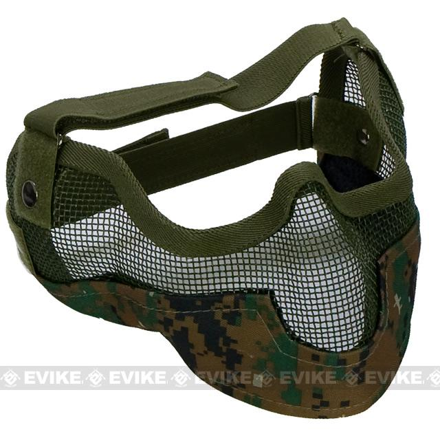 Matrix Iron Face Carbon Steel Striker Gen2 Metal Mesh Lower Half Mask - Digital Woodland Marpat