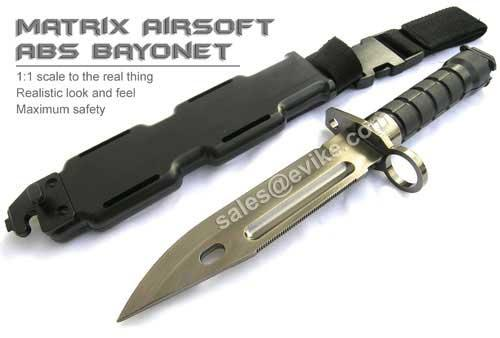 Matrix Airsoft Tactical Rubber Bayonet with Sheath & M4 / M16 QD Mount (Belt / MOLLE Ready)