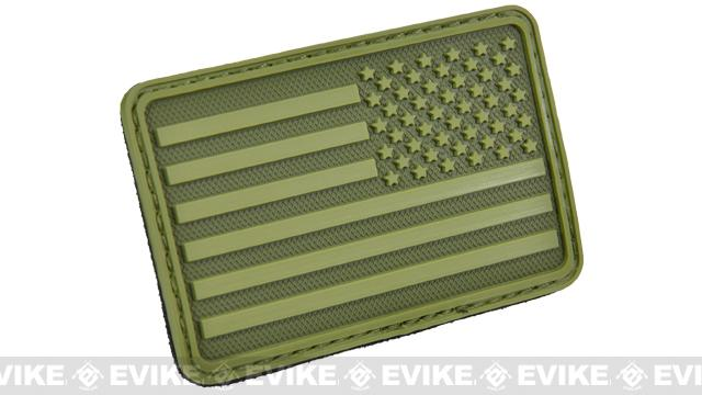 Hazard 4 US Flag Rubber Hook and Loop Patch - Right Arm / OD Green