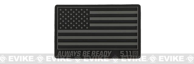 5.11 Tactical US Flag - Always Be Ready PVC Hook and Loop Morale Patch - Black