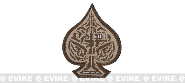 5.11 Tactical Spade Embroidered Hook & Loop Morale Patch - Desert Tan