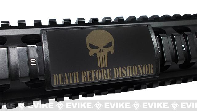 Custom Gun Rails (CGR) Large Laser Engraved Aluminum Rail Cover(permodized) -Death Before Dishonor