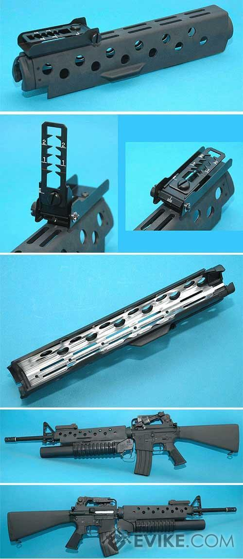 G&P M203 Style Handguard For M16 Series Airsoft AEG - Long (Color: Black)