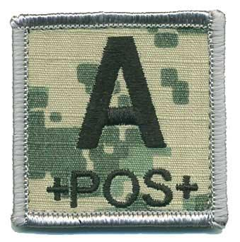Matrix 2x2 Army Camo. ACU Square Blood Type Patch - A POS