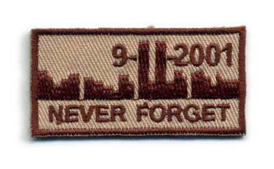 Embrodery 25mm IFF Never Forget 911 Military Hook & Loop Ready Patch - TAN