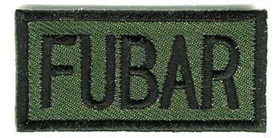 Matrix Embroidered FUBAR IFF Hook and Loop Patch (OD) / 50mm x 20mm