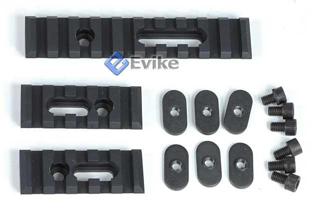 Matrix Triple Rail Set w/ Screws for Magpul PTS MOE / MASADA / ACR Handguards - Black