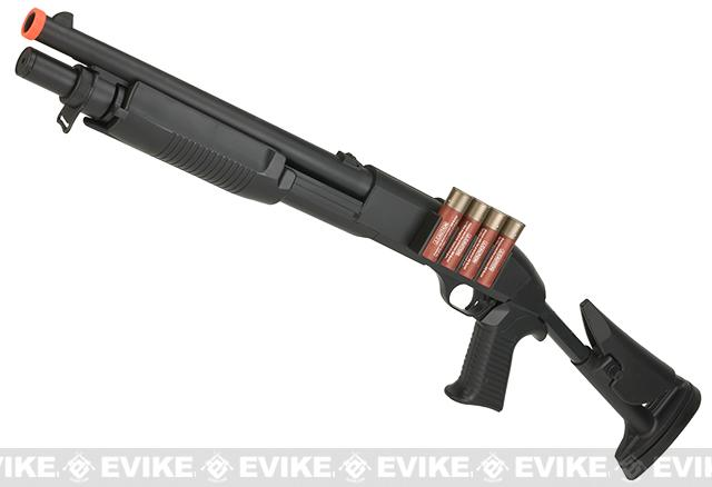 JG / AGM Full Size M3 Realistic Shell Loading Airsoft Shotgun (Retractable Stock)