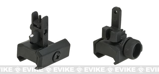 Shooters Steel Precision MP7 Style Flip Up Front & Rear Sight Set for 20mm Rails.