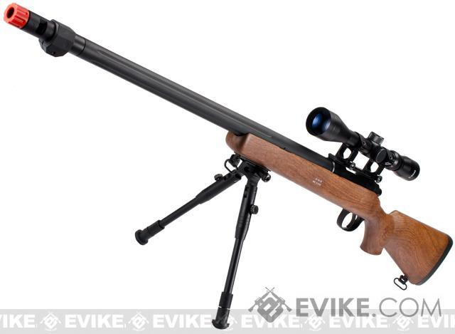 Pre-Order ETA September 2016 Matrix VSR10 MB07 Bolt Action Sniper Rifle w/ Bipod, Fluted Barrel & Flash hider (Imitation Wood)