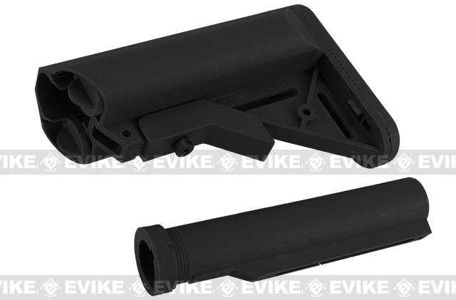 S&T Airsoft Black Crane Stock with Polymer Buffer Tube for Airsoft M4 AEG Rifles - Black