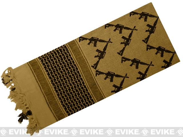Rothco Tactical Desert Scarf / Shemagh - Crossed Rifles (Tan)