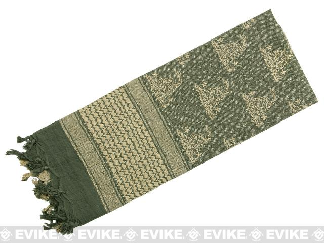 Rothco Tactical Desert Scarf / Shemagh - Gadsden Snake (Foliage Green)