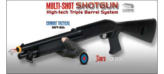 M3 3-Round Burst Multi-Shot Shell Loading Airsoft Riot Shotgun - Full Stock