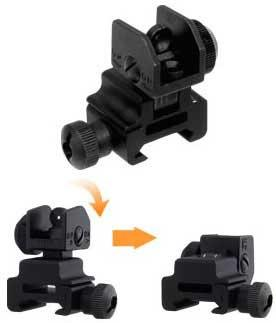 UTG Real Steel Aluminum M4 / M16 Tactical Flip-Up Rear Sight