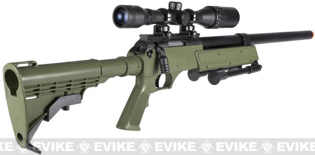 Matrix ASR SR-2 Shadow Op Bolt Action Airsoft Sniper Rifle w/ LE Stock & Bipod - OD Green