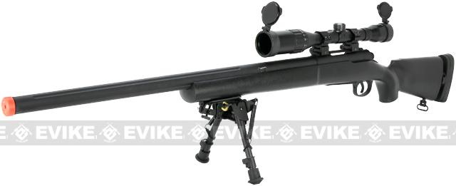 Snow Wolf US Army M24 Military Airsoft Bolt Action Scout Sniper Rifle - Black (Package: Add ~600 FPS Upgrade + Bipod)