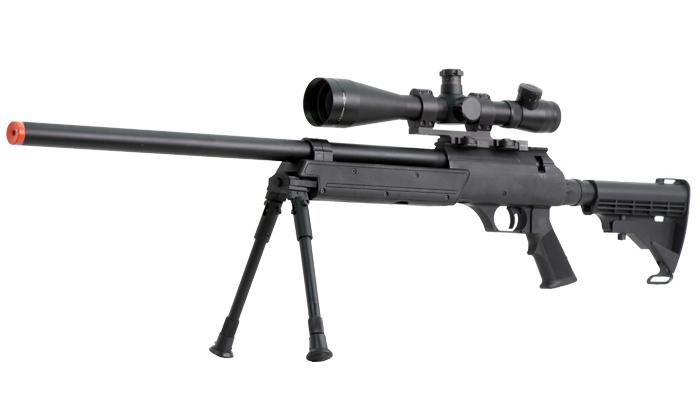 z SR-2 ASR M187 Shadow Op Bolt Action Airsoft Sniper Rifle w/ Bipod and LE Stock by JG - Black
