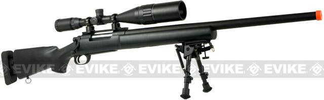 Snow Wolf US Army M24 Military Airsoft Bolt Action Scout Sniper Rifle (Package: Desert / Add ~600 FPS Upgrade + 3-9x40 Scope + Bipod)