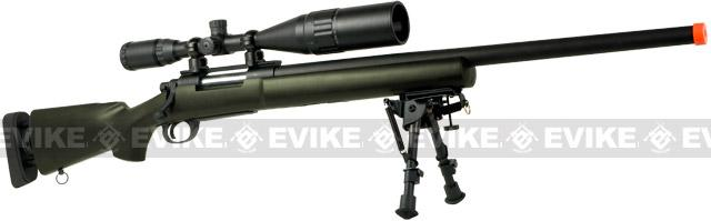 Snow Wolf USMC M24 Military Airsoft Bolt Action Scout Sniper Rifle - OD Green (Package: Add 3-9x40 Scope)