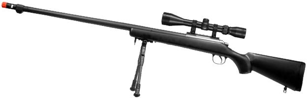 Matrix VSR10 MB07 Bolt Action Sniper Rifle w/ Bipod, Fluted Barrel & Flash hider (Black)