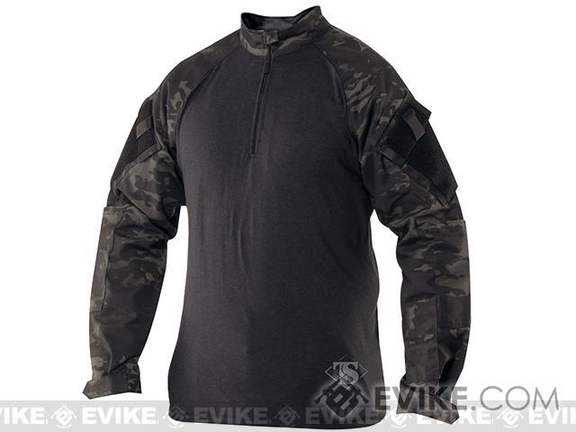 Tru-Spec Tactical Response Uniform 1/4 Zip Combat Shirt - Multicam Black (Size: Large)