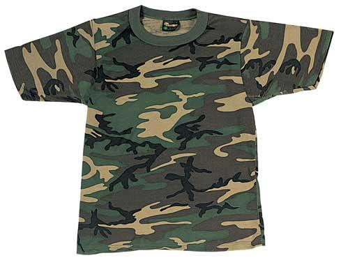 Mens Woodland Poly Cotton Camouflage T-Shirt - Size: L