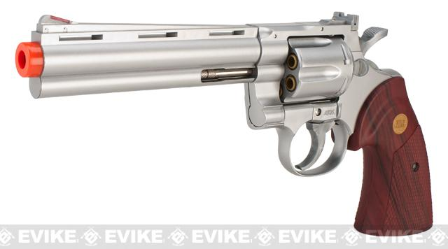 UHC / TSD 6 Heavy Weight  Zombie .357 Airsoft Spring Revolver - Silver / Rosewood