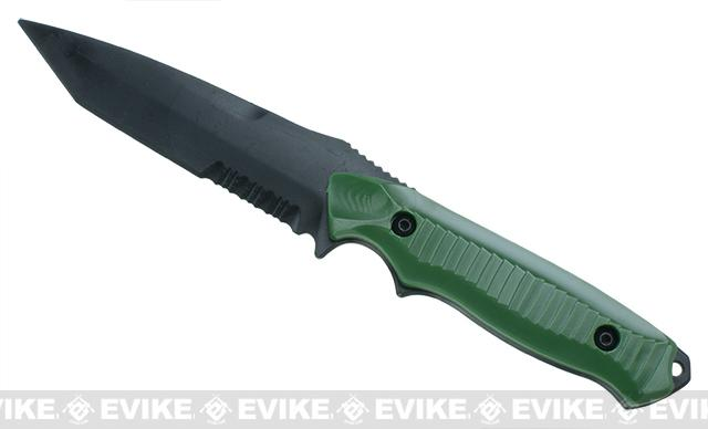 S&T Aggressor 141 Type Rubber Training Knife w/ Hardshell Sheath Airsoft Movie Prop - OD