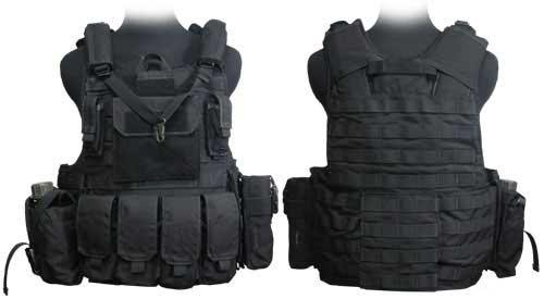 Phantom CORDURA 1000 Denier Force Recon Tactical Vest Full Set (Black / XL)