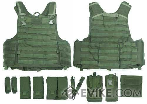 Phantom CORDURA 1000 Denier Force Recon Tactical Vest Full Set (Black / Large)