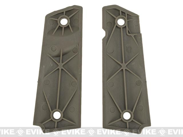 FMA Textured Ergonomic Polymer 1911 Grips - (Diamond Pattern) Dark Earth