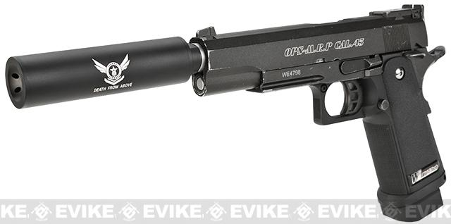 Angel Custom Mock Suppressor for Airsoft GBB Pistols - 14mm- (Death From Above)