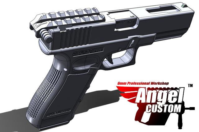 Angel Chargin Handle / Rail Mount Night Glow Front & Rear Sight for WE G Series Airsoft GBB Pistol