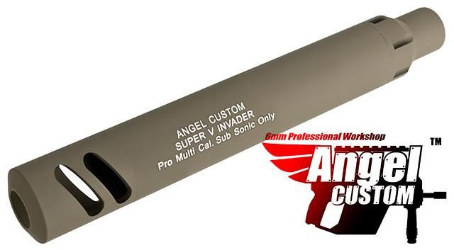 Angel Custom Super-V Invader Mock Silencer w/ Tightbore Inner Barrel for KWA KRISS Vector Airsoft GBB SMG - 500+ FPS / Short (Dark Earth)