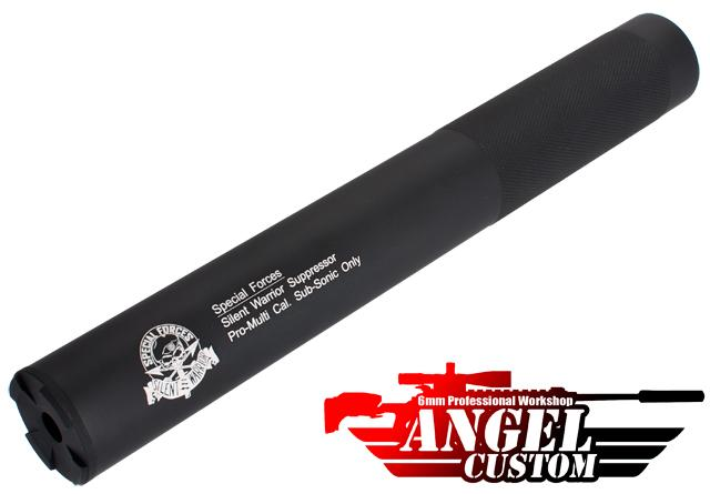 Angel Custom Bio-Hazard 275mm CNC Aluminum 14mm Airsoft Mock Silencer - Silent Warrior