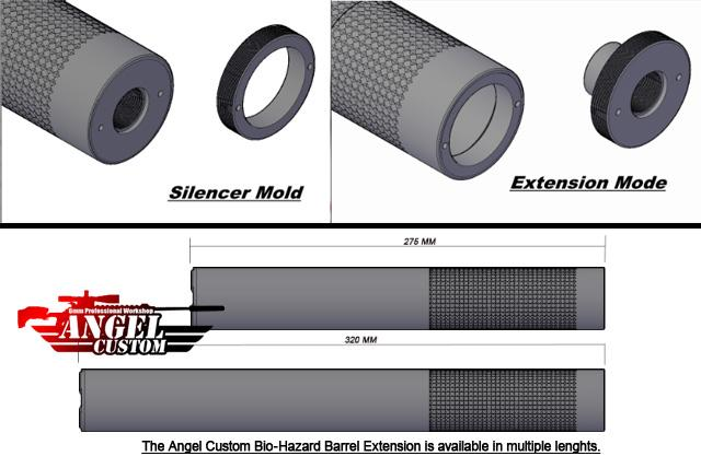 Angel Custom Bio-Hazard 275mm CNC Aluminum 14mm Airsoft Mock Silencer - Infidel